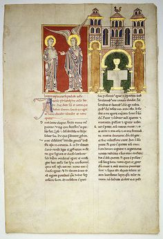 leaf from a beatus manuscript the angel of the church of philadelphia with saint john