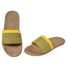 Gelb Leinen Pantoffeln Liebhaber