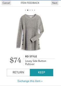 RD Style Louey Side Button Pullover - Stitch Fix 2016