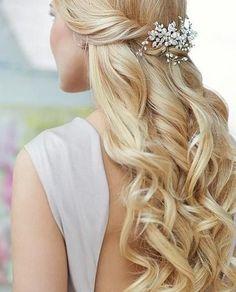 Half-Up Half-Down Wedding Hairstyles with Hair Accessories