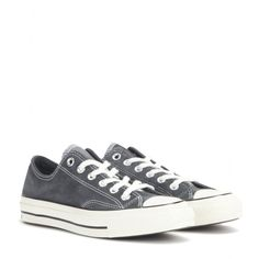 Converse - Chuck Taylor All Star suede sneakers - Channel that classic, all-American vibe with these iconic Chuck Taylor All Star sneakers. Crafted from supple suede in a slate grey hue, they offer a relaxed silhouette while maintaining an urban spirit. Team yours with second-skin denim for an off-duty daytime look. seen @ www.mytheresa.com
