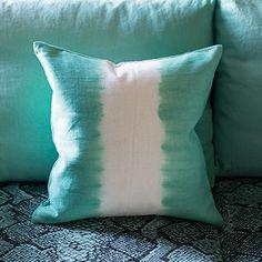 Savine Pale Jade Cushion with contrasting tie dye stripe