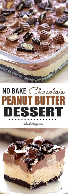 Cool and creamy, oreo, peanut butter and chocolate loaded dessert, perfect for summer and anytime you need an easy no-bake dessert. (no bake oreo cake food) Mini Desserts, Brownie Desserts, Easy No Bake Desserts, Delicious Desserts, Yummy Food, Homemade Desserts, Healthy Food, Healthy Recipes, Dessert Healthy