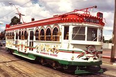 Christmas tram in St George's Road circa 1970, on its way to West Preston. This tram – W7 class 1024 – was one of the advertising cars used in traffic by the Melbourne & Metropolitan Tramways Board (M&MTB).  It was a tradition for the M&MTB to decorate one of its trams to celebrate the festive season.  Photograph from the FOHTD collection.
