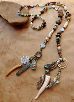 Spirit Beads for Prayer and Meditation with Basha Beads, Ancient Bactrian Glass, Fossils, and Antique Ethnographic Elements