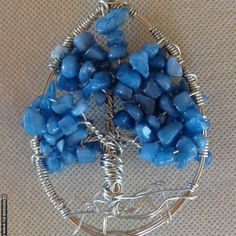 Blue Quartzite Tree of Life Wire Art Sun Catcher Crystal // Blue Quartzite Chip Beads // Wire Wall Art