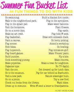 Summer Fun Bucket List Things To Do With Kids Honey We Re Home