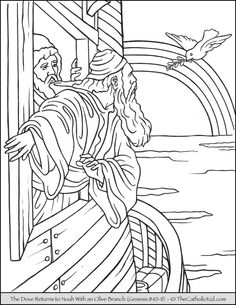 The dove returns to Noah coloring page.
