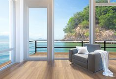 Empty modern living room interior with large windows and sea view background, 3D rendering