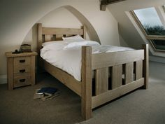 Sturdy and strong The Riven Oak Slat Bed #indigocollections