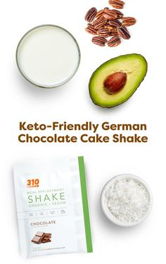 For an indulgent shake reminiscent of biting into a rich, luscious piece of super-chocolaty cake, try this Keto-Friendly German Chocolate Cake Shake! It's packed with healthy fats to help you reach or stay in ketosis. Chocolate Cake Shake, German Chocolate, Protein Powder Recipes, Protein Shake Recipes, Yummy Drinks, Healthy Drinks, Healthy Fats, 310 Shake Recipes, Unsweetened Coconut Milk