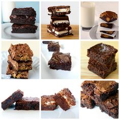 Top 10 brownie recipes, including Mint Brownies, Marshmellow Crunch Brownie Bars, Salted Caramel Brownies, and French Chocolate Brownies