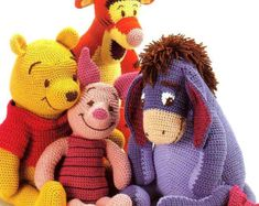 DIGITAL DOWNLOAD PDF  Vintage Crochet Pattern Winnie the Pooh Tigger, Piglet and Eeyore Toy Retro
