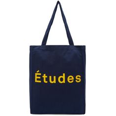Etudes Navy Logo October Tote (258.170 COP) ❤ liked on Polyvore featuring bags, handbags, tote bags, navy, tote purses, canvas tote, blue tote bag, navy canvas tote and navy blue handbags