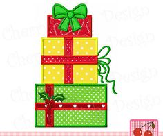 Christmas gift boxesChristmas Machine Embroidery Applique