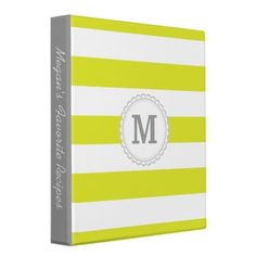 Lime Green Wide Stripe Vinyl Binders