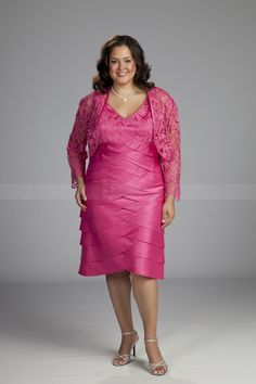 Plus Size Column Mother of the Bride Dress with Mini Lace Jacket