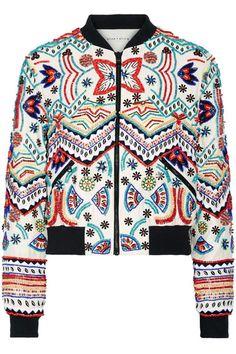 Alice Olivia - Lonnie Embellished Silk-chiffon Bomber Jacket - Cream