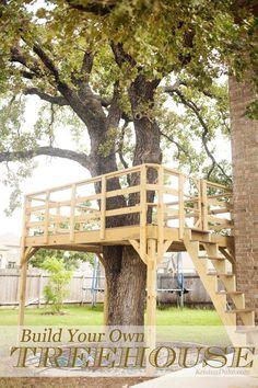 Build Your Own Treehouse, how we built it for backyard play for kids http://KristenDuke.com DIY