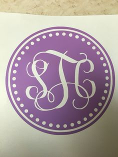 Purple monogram car decal made by TaylorMadeCreations. Follow us on etsy- TaylrMadeCreation and on Instagram TaylorMadeCreations15, we also have Facebook TMCreation15