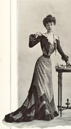 1901 July, Les Modes Paris - Town dress by Blanche Lebouvier. -- With retouched skinny model, just like modern photoshop fashion...