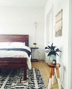 wood headboard + textiles