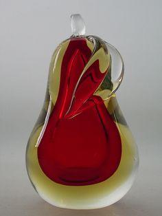 Murano glass paperweight pear