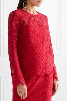 Diane von Furstenberg - Yeva Corded Lace Top - Red - US8