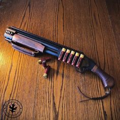 Custom leather for a Mossberg Shockwave. The bandage wrap on the handle, weaved lanyard, and the hand strap on the fore-end all made by us! Tactical Shotgun, Tactical Gear, Mossberg Shotgun, Weapons Guns, Guns And Ammo, Mossberg Shockwave, Aigle Animal, Custom Guns, Custom Revolver