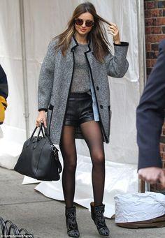 Miranda Kerr- gray & black leather