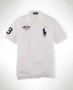 8f6a3c5cf8 Maglietta Polo Ralph Lauren Uomo Big Pony Flag Polo Camicia RLPC Bianca