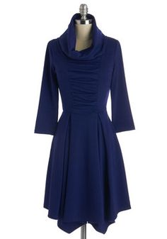 Storytelling Showstopper Dress in Indigo - 3/4 Sleeves. Standing center stage, you share an adventurous anecdote while wearing the cute cowl neck and pleated skirt accents of this ModCloth-exclusive dress! #blue #modcloth