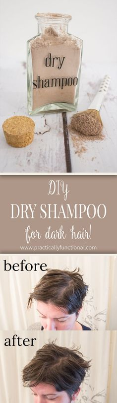 Best DIY dry shampoo for dark hair ever! Gets rid of the greasy shine and adds a ton of volume, so you can style your hair just like normal! (Works for light hair too, just leave out the cocoa powder)