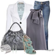 A fashion look from May 2013 featuring silk shirt, blue jackets and blue jeans. Browse and shop related looks. Mode Style, Style Me, Girl Style, Fashion Moda, Womens Fashion, Denim Fashion, Spring Fashion, Autumn Fashion, Look Formal