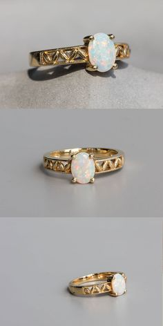Vintage Style Oval Australian Solid Opal Engagement Wedding Ring 14K Yellow Gold | eBay