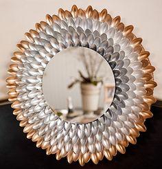DIY Mirror Fram w/ Plastic Spoons | Resue & Recycle