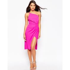 ASOS Cami Strap Drape Midi Pencil Dress (4.465 RUB) ❤ liked on Polyvore featuring dresses, hot pink, white pencil dress, hot pink cocktail dress, hot pink dress, one shoulder dress and white camisole