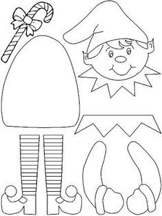 Printable Elf Craft (color, cut, glue) - Lovebugs and Postcards Christmas Sewing, Christmas Crafts For Kids, Christmas Projects, Felt Crafts, Holiday Crafts, Santa Crafts, Felt Christmas Decorations, Felt Christmas Ornaments, Christmas Elf