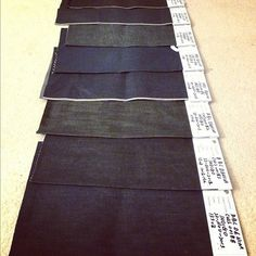 The first batch of raw selvedge denim swatch samples just came in. We're cooking some crazy shit up for you. Keep your eyes peeled and keep your jeans on. #howtomakeitinamerica