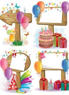 Lembrança do aniversário da Antonella.Happy birthday decorated frame vector: