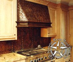 patina metal backsplash