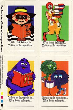 McDonalds Canada - Character sticker book labels - 1987 I totally remember this 😂😍 and i was born in the Vintage Advertisements, Vintage Ads, Vintage Posters, Book Labels, Restaurants, Cool Stickers, Cute Cartoon Wallpapers, Vintage Colors, Canada