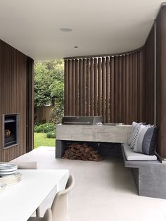 7 Outdoor Kitchen Design Ideas For Awesome Backyard Entertaining - Modern outdoor kitchens don't have to be anything too fancy. A simple work area, cooktop and a pl - Outdoor Barbeque Area, Outdoor Grill, Bbq Area, Outdoor Cooking, Outdoor Rooms, Outdoor Living, Outdoor Furniture Sets, Outdoor Decor, Indoor Outdoor