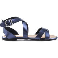 London Rag Women's SH1114 - Navy ($40) ❤ liked on Polyvore featuring shoes, sandals, blue, navy sandals, navy shoes, ankle strap shoes, blue shoes and ankle tie sandals