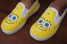 Sponge Bob Shoes Boy/Girl Children's Custom by MyLittleFootsie, $29.50