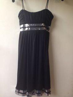 Black Dress Silver Sequins Size Small Spaghetti Strap City Triangles  $20