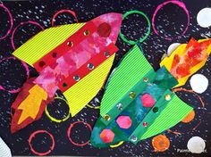 Grade STEM/STEAM spaceship paintings and retro rockets. (Via Painted Paper in the Art Room) Kindergarten Art, Preschool Art, School Wide Themes, Arte Elemental, Art Doodle, First Grade Art, Retro Rocket, Ecole Art, Art Lessons Elementary