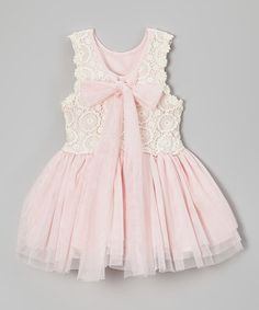 Look what I found on #zulily! Pink Crochet Bow Babydoll Dress - Toddler Girls #zulilyfinds