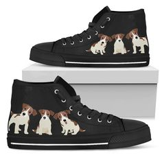 Canvas High Top Sneaker Casual Skate Shoe Boys Girls Bone Pit Bull Terrier Dog Paw
