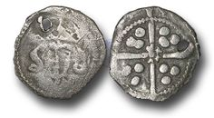 Edward IV (1461-1483), Penny, 0.41g., Heavy Cross and Pellets Coinage (1465), Drogheda mint, crowned facing bust of Edward, rev., long cross with  rose at the centre, (S.-; JBurns Dr-3H (type 3)), pierced, fine